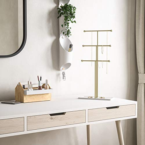 Umbra Trigem Hanging Organizer – 3 Tier Table Top Necklace Holder, Box Display with Jewelry Tray Base, Brass