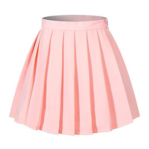 Beautifulfashionlife Women`s High Waist Slim Mini Short Over Knee Length Pleated Skirts(XL,Pink)