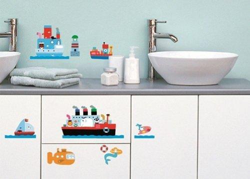 Stickers Muraux Repositionnables Déco Enfants La Mer Bateaux Phare