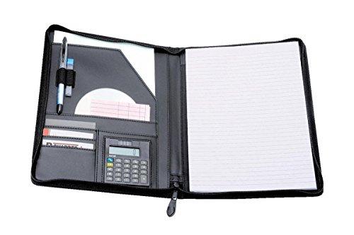 Alassio 30056 - Schreibmappe Catana, DIN A4, ca. 31,5 x 26 x 2 cm, schwarz, aus Lederimitat, mit Taschenrechner und Block A4