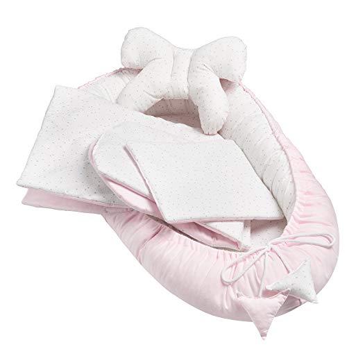 Solvera_Ltd Juego de 5 piezas para bebé, incluye nido de 90 x 50 cm, cojín plano extraíble, manta para gatear, cojín de mariposa, 100% algodón, diseño de estrellas, color rosa