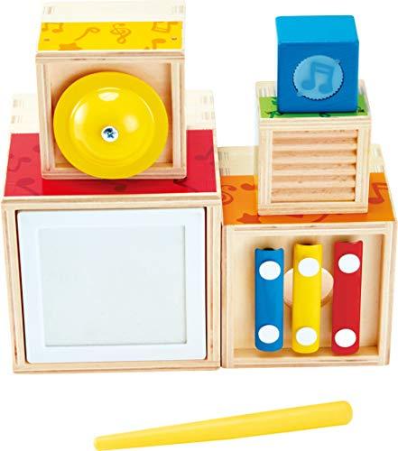 Hape- Multi Block Set Cubes à empiler musicaux en Bois, E0336, Multicolore