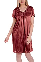 Red Silk Short Sleeve Fine Sequin Nightgown