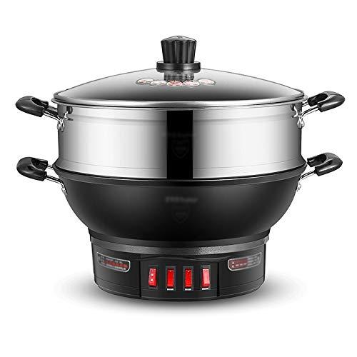 WALNUTA Wok eléctrico Sartén eléctrica Cocina eléctrica para el hogar Cocina de Hierro Fundido Cocción al Vapor Estofado Cocina eléctrica integrada