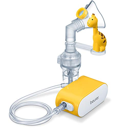 Beurer IH 58 Kids Inhalator mit Giraffen-Aufsteckfigur zur Verneblung von flüssigen Medikamenten, für eine effektive Inhalation bei Kindern, mit hoher Verneblungsleistung und kurzer Inhalationszeit