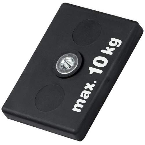Neodym Magnet-System gummiert Innengewinde - Maße: 43 x 31 x 6 mm - Innen-Gewinde: M4 - Material: Neodym (NdFeB) - Haftkraft 10kg - Magnetsysteme mit Gummi-Mantel - Anti-Rutsch-Beschichtung
