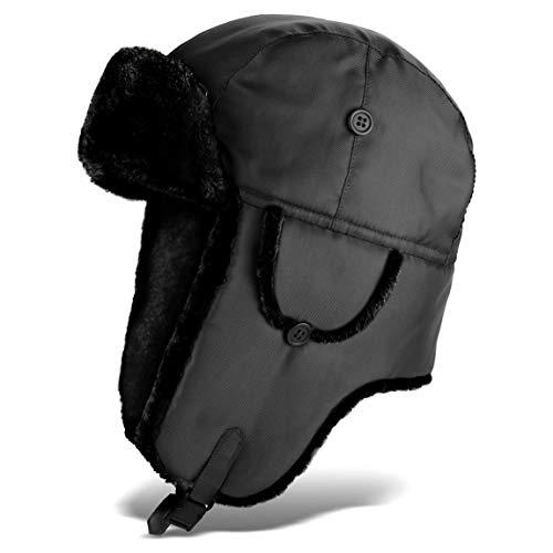 Black Snake Pilotenmütze | Fliegermütze | Pelzmütze | warme Wintermütze mit Ohrenklappen - Schwarz - XXL