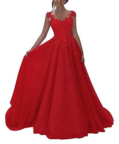 NUOJIA Damen Prinzessin Ballkleider Lange mit Appliques Party Kleid Rot 34