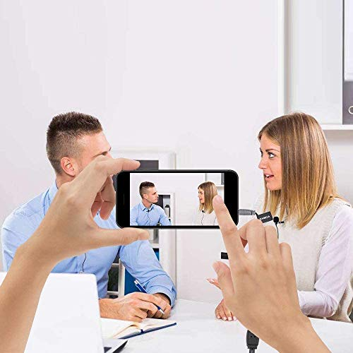 Kabelgebundenes Lavalier Mikrofon, Comica CVM-D02 Kondensator Clip mit zwei Anschlägen an Lavmikrofon für Canon Nikon Sony DSLR-Kameras, Interview-Aufnahmemikrofon für Smartphones (Schwarz-117 inch)