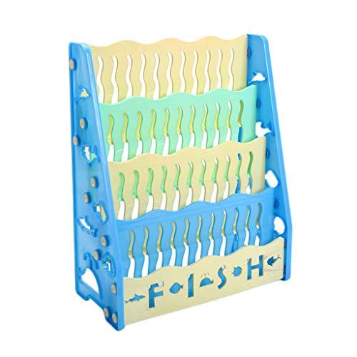 Bibliothèque/étagères pour Enfants La sécurité au Sol en Plastique n'est Pas Facile à Verser Stockage de Livre personnalisé LCSHAN (Color : Blue, Size : 4 Layers)