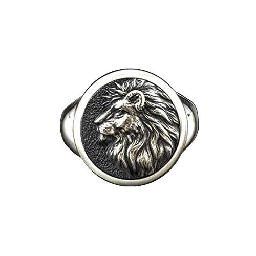 Lion Head Ring for Men, Norse Viking Lion Ring, Hip Hop Lion Signet Ring, Vintage Engraved Carved Band Rings, Lion Totem Ring, Punk Lion Amulet Ring, Gothic Animal Lion Jewelry Gift for Men Boys (11)
