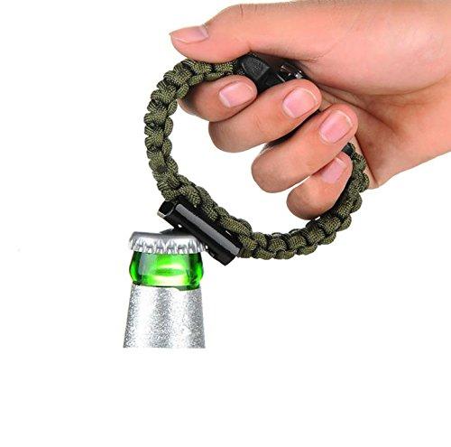 Ouvre-bouteille en corde de parachute/escalade/survie Vert militaire