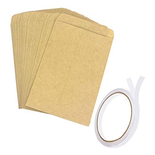 Trasfit 150 Pack Seed Envelopes with Double Sided Adhesive Tape, Brown Kraft Coin Packets Mini Envelopes Seed Paper Bags for Home and Garden Use – 4.7x3.15Inches