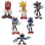 6 Unids/Set PVC Acción Knuckles Anime Estatua Sonic Shadow Figuras Juguete Modelo Hecho a Mano The E...