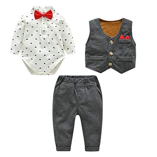 famuka Trajes de Bebé Chaquetas de Bebé Niño Bautizo Conjunto de Ropa de Bebé Boda Esmóquines (Gris, 90)