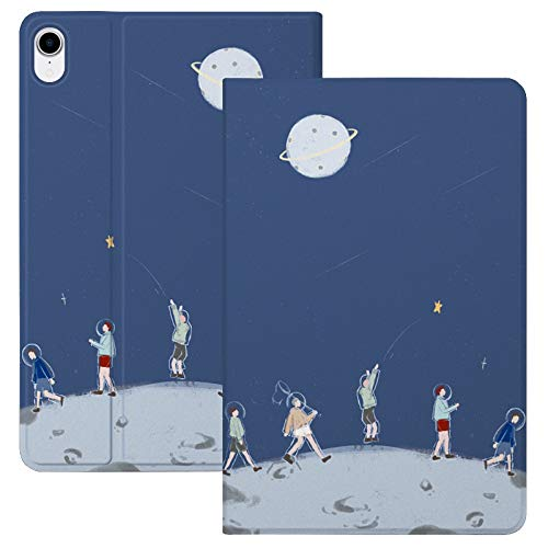 HaoHZ Case for Ipad Air 10.9 Inch 4Th Generation [Support Apple Pencil 2 Charging] Cute Cartoon Case with Trifold Stand, Soft TPU Back Cover Slim Sleeve Shell, Auto Wake/Sleep,Moon