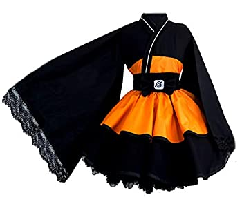 N/X Japanese Anime Cosplay Costume Uzumaki Costume Female Lolita Kimono Dress Orange