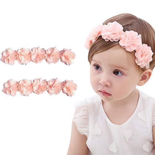 赤ちゃんヘアバンド ベビー髪飾り 可愛い 新生児ヘアアクセサリー 結婚式 宮参り 誕生日 記念撮影 2点セット