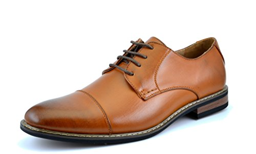 Bruno HOMME MODA ITALY PRINCE Men's Classic Modern Oxford Wingtip Lace Dress Shoes,PRINCE-6-BROWN,10 D(M) US