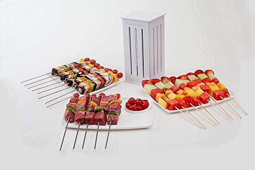 Kebab Maker 36 Trous de brochettes Trancheur de Nourriture BBQ Brochette Grill Shish Kit Kebab Maker Box Tool Kit Barbecue Portable Grill Barbecue R/ôti Viande Viande Kit