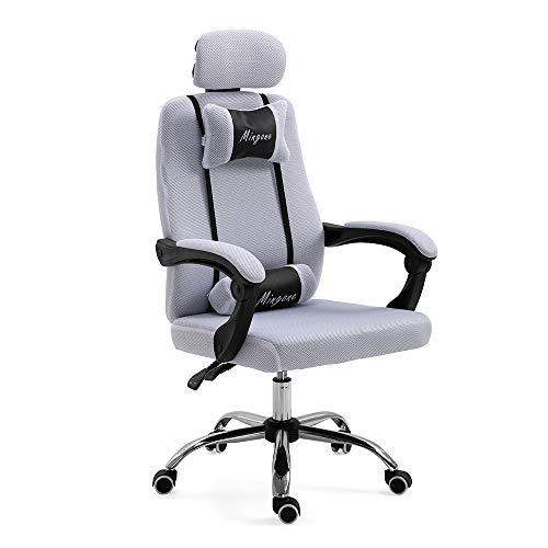 Mingone Bürostuhl Chefsessel Drehstuhl Computerstuhl Höhenverstellung Office Stuhl Polsterung wegklappbare Armlehne (weiß+ohne Pedalen)