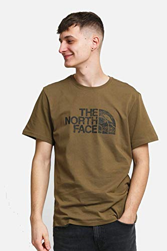 The North Face Camiseta para Hombre S/S Woodcut Dome tee Mil. Olive S