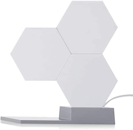 Hamkaw WiFi Smart LED Quantum Lights, Creative LED Module System Hexagonal Wall Light with 16 Million Colors Changeable and APP Control, Works with Alexa Google Home, 3 Blocks Base