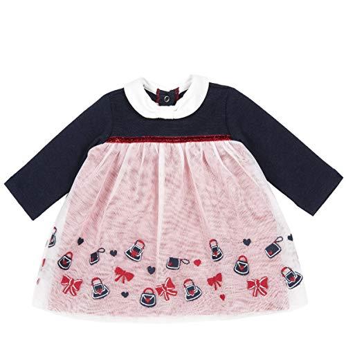Chicco Baby-Kleid, langärmelig, Farbe Blau und Rot, Rundhalsausschnitt, Verschluss auf der Rückseite, mit 4 automatischen Clips, Tüll, Weiß, Kollektion Herbst und Winter, Blau 86