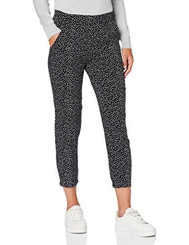 TOM TAILOR Damen Loose Fit Style Freizeithose, 24436-black Offwhite dot p, 44