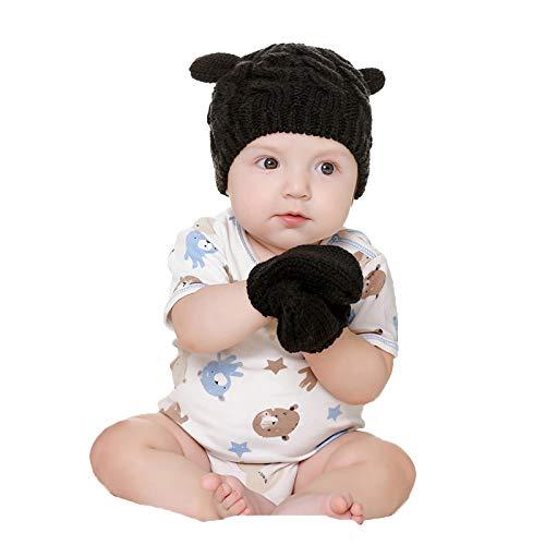 Gorro y Guantes para bebé, Gorro de Punto cálido Grueso de Dos Piezas