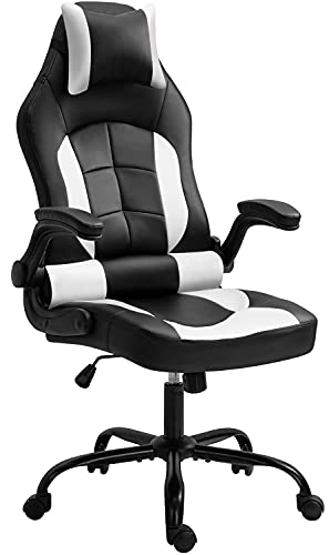 Gaming Chair, Cadcah Ergonomic Computer Chair Reclining High Back Office Chair Height Adjustment Desk Chair with Armrests Headrest and Lumbar Support PC Gaming chair for Adults Teens Men Women (White)