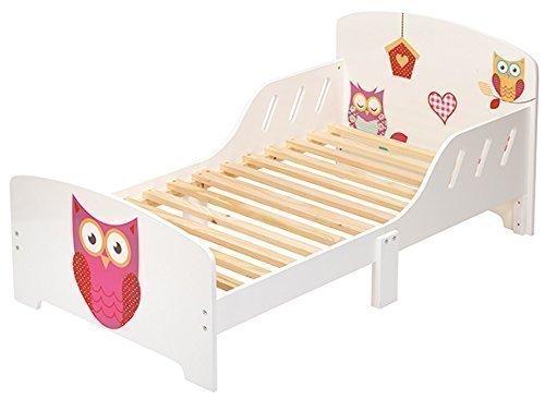 4uniq Kinderbett Eule Weiss lackiert Bettgestell Spielbett Holzbett Bett