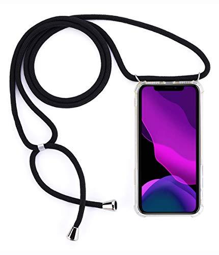 2ndSpring Cover con Collana Compatibile con Huawei P Smart 2019/Honor 10 Lite,Case con Laccio per Il Collo Custodia con Cordino,Nero