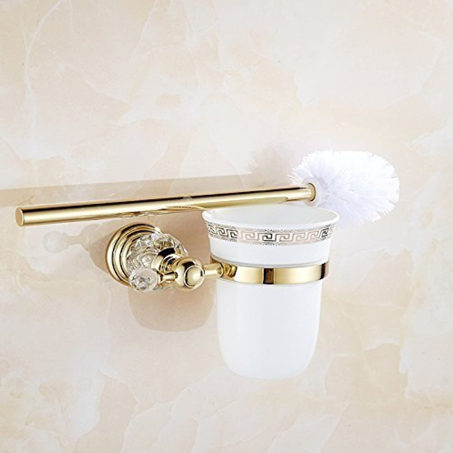 Crystal of European gold Toilet Toilet Antiquities of The Brush Holder Toilet Brush Bathroom Rack Wall Mount Free Perforation