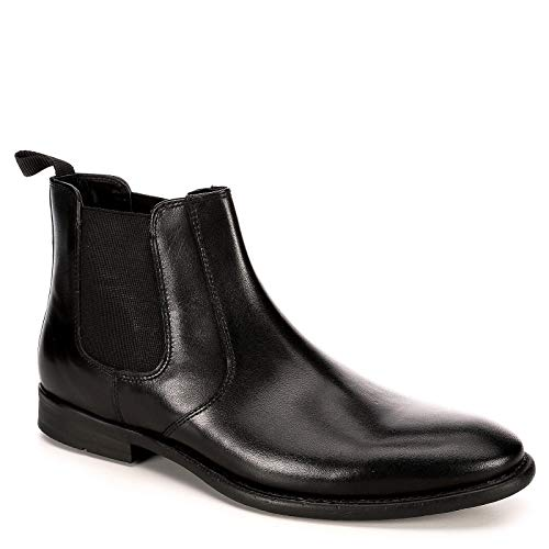 Franco Fortini Mens Trevor Chelsea Leather Ankle Boot Shoes, Black, US 8