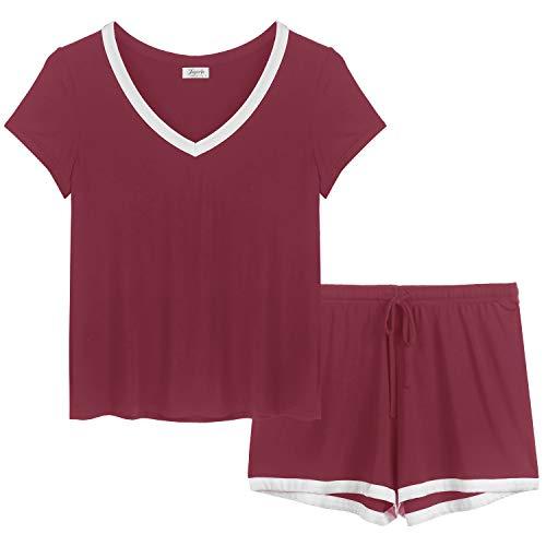 Amorbella Damen-Schlafanzug, Bambus, kühlend, Pyjama-Set, Nachtwäsche für Nacht, Schwitzen, Hitzewallungen Gr. Medium, Kurz-Burgunderrot