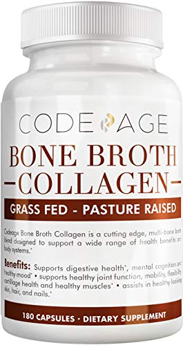 Codeage Organic Bone Broth Collagen Capsules w. Turmeric + Ashwagandha - Grass Fed Bovine & Organic Chicken Bone Broth Collagen Type I II III for Hair Skin Nails Bones Joints & Gut Support - 180 Pills