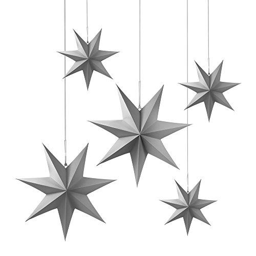 Frau WUNDERVoll® liebevolle Faltsterne grau 5 Stück: 3 Stück Durchmesser 25 cm + 2 Stück Durchmesser 40 cm 7 Zacken geschlossene Oberfläche Feste Pappe