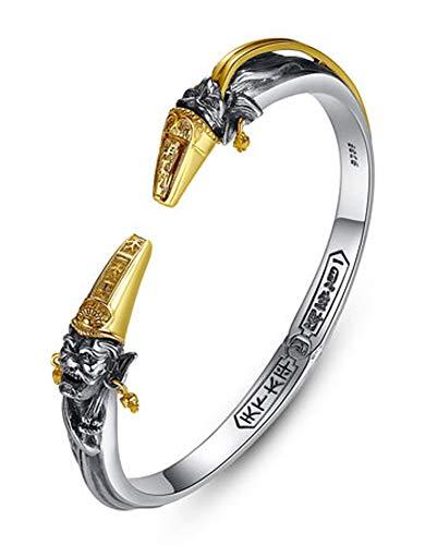 Pulseras de plata 925 para hombres y mujeres con estilo retro ajustable, pulseras de personalidad, regalo de recuerdo.