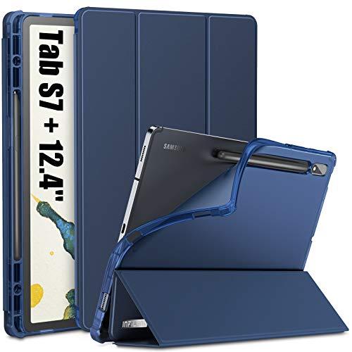 INFILAND Funda Case para Samsung Galaxy Tab S7+ 12.4(SM-T970/T975/T976), Estuche Carcasa TPU Translúcida para S Pen,Book Cover con Auto Reposo/Activación para Samsung Tab S7 Plus 12.4,Azul Oscuro