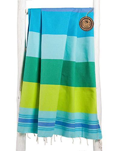 ZusenZomer Fouta Hamamtuch XXL Extra Groß 200x200 - Hamam Badetuch Handtuch Hamam-Tuch XXL - 100% gekämmte Baumwolle - Fair Trade Hamamtücher (Türkis, blau und grün)
