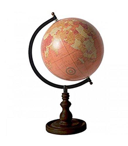 Wadiga Globe Terrestre Style Ancien Rose Saumon Base Noire
