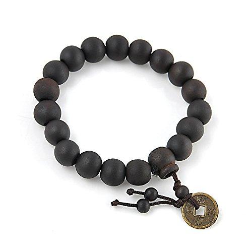 ERAWAN Chinese Style Wood Buddha Beads Buddhist Prayer Tibet Bracelet Mala Bangle Wrist EW sakcharn
