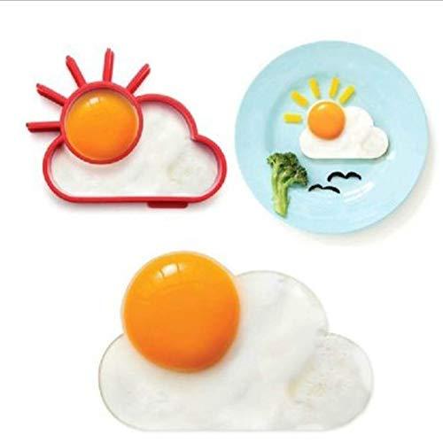 XKMY Moldes de huevo para desayuno, tortilla, molde de silicona para tortitas, herramienta de cocina, accesorios de cocina, separador de huevos de plástico (color : flor de sol)