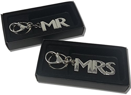 Schlüsselanhänger MR und MRS silber Länge 15 und 16 cm Metall mit Karabinerhaken in Geschenkbox