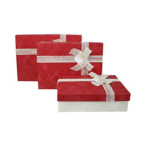 Emartbuy Conjunto de 3 Rígido Lujo Caja de Regalo de Presentación en Forma de Rectángulo, Caja de Crema Con Tapa Roja, Interior a Cuadros y Cinta Decorativa