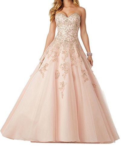 Dresses Onlie Damen Prinzessin Quinceanera Kleider Spitze Applikationen Schatzhals Abendkleider Lang Ballkleid(Hellrosa,36)