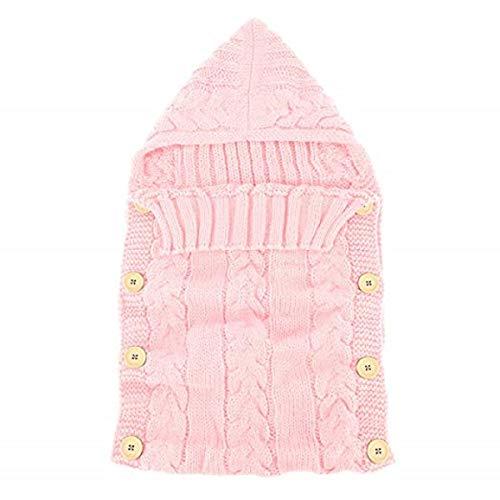 Haokaini Bebé Recubierto con Capucha Sleep Wraps Bag, Juego de recepción de la Manta Swaddle, Tejido de Punto de Ganchillo Cuna Cuna (Color : Pink, Size : 0-1 Years)