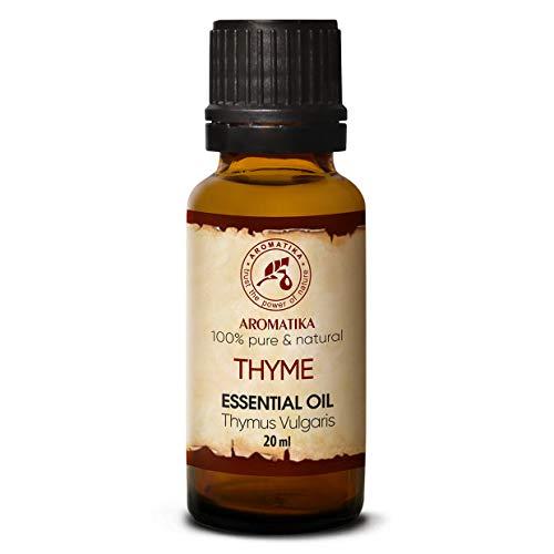 Olio Essenziale di Timo 20ml - Thymus Vulgaris - Austria - 100% Naturale - Viene Utilizzato nei Bagni Aromatici - Saune - Inalazioni - Massaggi - Cura dei Capelli e Della Pelle