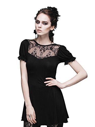 Devil Fashion - Vestido - Túnica - Manga corta - para mujer negro S